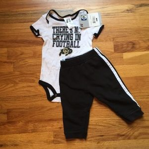 "NWT ""There's No Crying in Football"" onesie & pants"